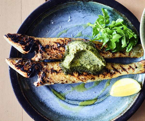 Whiting with seaweed butter