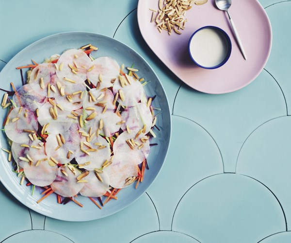 "[Charlie Carrington's (Colours Kitchen) Kohlrabi mosaic salad with almonds](https://www.gourmettraveller.com.au/recipes/chefs-recipes/kohlrabi-mosaic-salad-with-almonds-16745 target=""_blank"")"