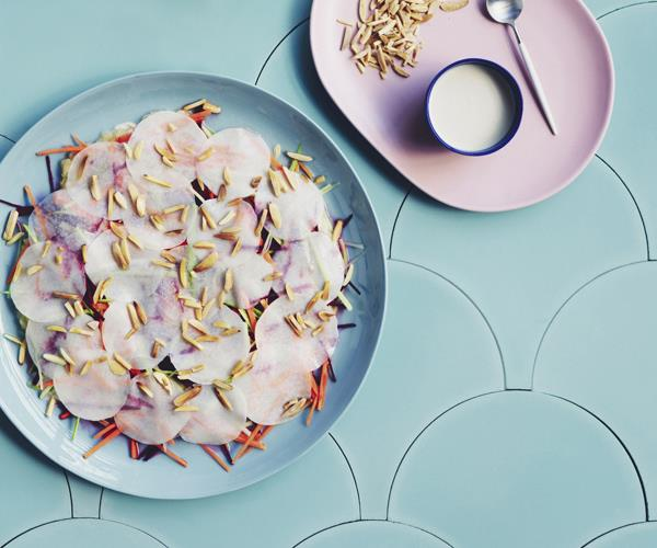 "**[Kohlrabi mosaic salad with almonds](https://www.gourmettraveller.com.au/recipes/chefs-recipes/kohlrabi-mosaic-salad-with-almonds-16745|target=""_blank"")**"