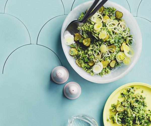 "**[Broccoli tabbouleh](https://www.gourmettraveller.com.au/recipes/chefs-recipes/broccoli-tabbouleh-16746|target=""_blank"")**"