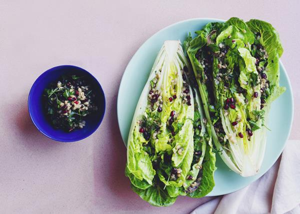 Cos lettuce, herb and anchovy salad