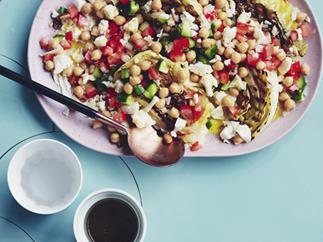Yemenite pickled cabbage and chickpea salad