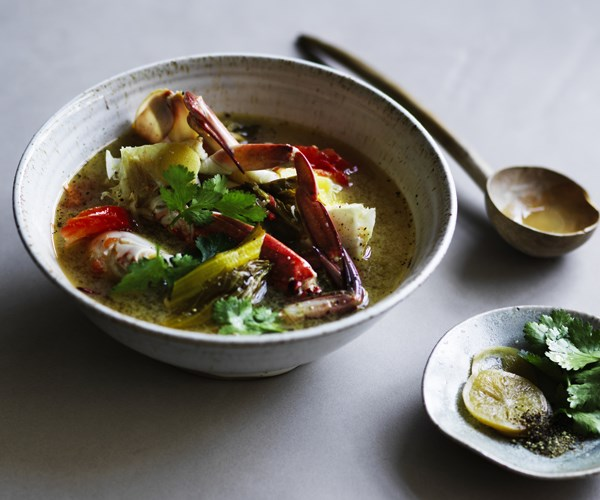 """**[Tony Tan's crab soup with pickled vegetable and tomato](https://www.gourmettraveller.com.au/recipes/chefs-recipes/crab-soup-16750