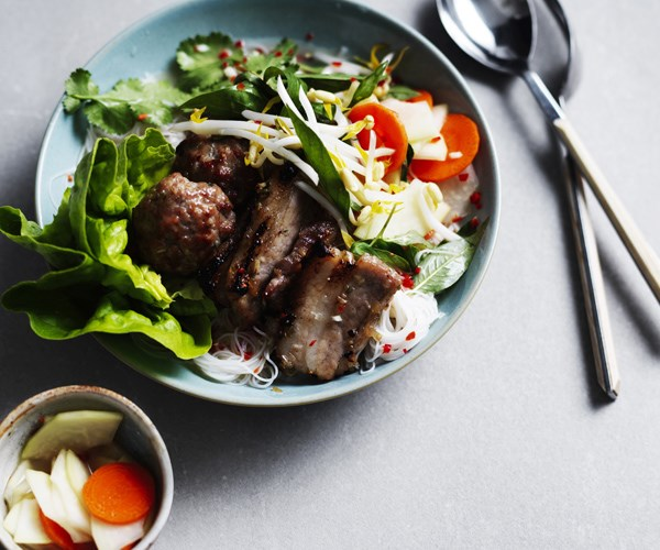 "[Tony Tan's Hanoi grilled pork with rice vermicelli (bun cha)](https://www.gourmettraveller.com.au/recipes/chefs-recipes/hanoi-grilled-pork-with-rice-vermicelli-16756|target=""_blank"")"
