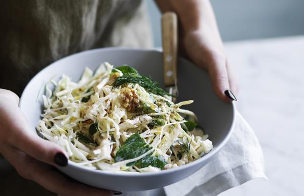 Cabbage, celeriac and pear salad