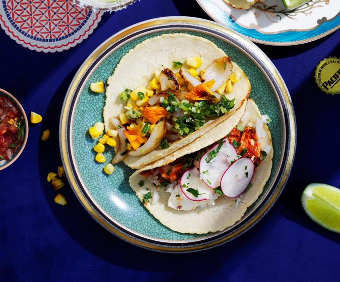 Calamari and corn tacos with salsa verde