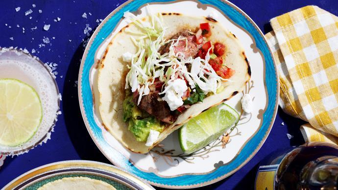 Carne asada tacos with arbol chilli salsa