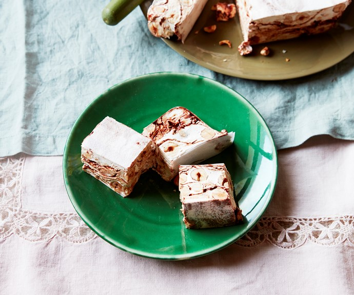 """**[Hazelnut and chocolate swirl nougat](https://www.gourmettraveller.com.au/recipes/browse-all/hazelnut-and-chocolate-swirl-nougat-16728