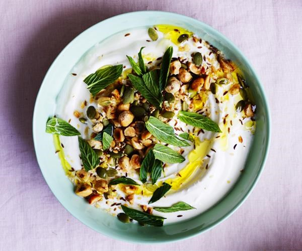 Yoghurt dip with sesame seeds, pepitas, cumin, caraway and mint