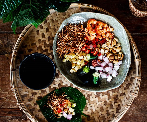 """[Betel leaves with accoutrements (mieng kham)](https://www.gourmettraveller.com.au/recipes/chefs-recipes/betel-leaf-recipe-mieng-kham-16809
