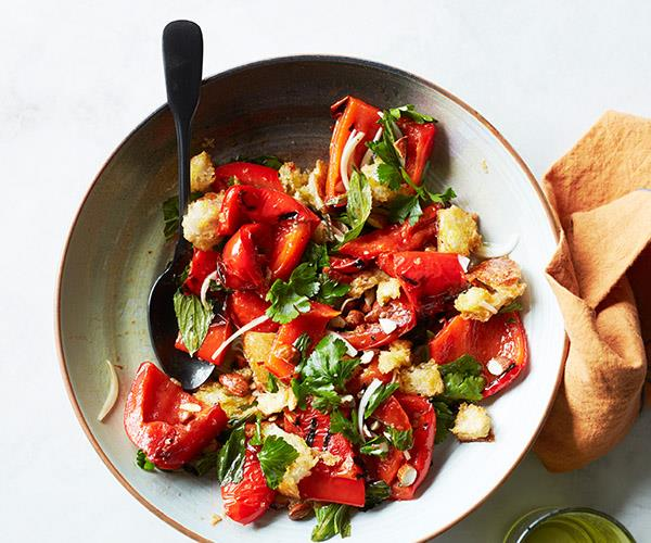 "**[Char-grilled capsicum salad with sherry vinaigrette](https://www.gourmettraveller.com.au/recipes/fast-recipes/char-grilled-capsicum-salad-sherry-vinaigrette-16813|target=""_blank"")**"