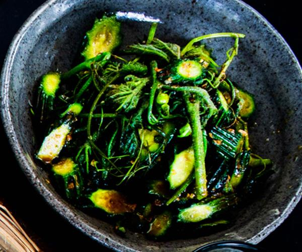"""[Stir-fry of young angled gourd and tendrils](https://www.gourmettraveller.com.au/recipes/chefs-recipes/stir-fry-of-young-angled-gourd-and-tendrils-16816