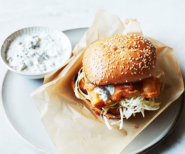 "[Fish burgers](https://www.gourmettraveller.com.au/recipes/fast-recipes/fish-burger-recipe-16817|target=""_blank"")"