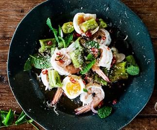 Grilled eggplant salad with prawns