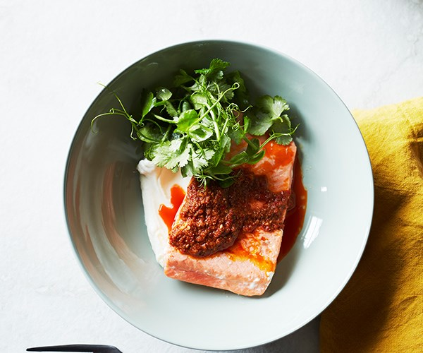 """[Ocean trout with harissa and yoghurt](https://www.gourmettraveller.com.au/recipes/fast-recipes/ocean-trout-harissa-recipe-16823
