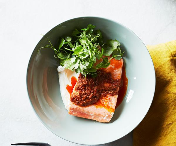 "**[Ocean trout with harissa and yoghurt](https://www.gourmettraveller.com.au/recipes/fast-recipes/ocean-trout-harissa-recipe-16823|target=""_blank"")**"