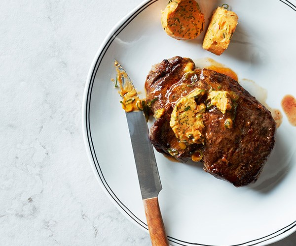 Grilled steak with gochujang butter