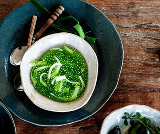 Pandan, tapioca and young coconut pudding