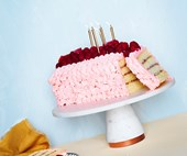 Raspberry and coconut layer cake