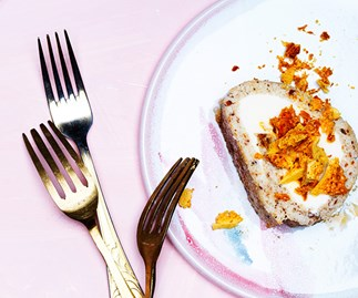 Almond and hokey-pokey ice-cream sponge roll