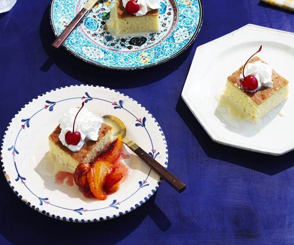 "**[Tres leches cake with roasted peaches](https://www.gourmettraveller.com.au/recipes/browse-all/tres-leches-cake-peaches-16829|target=""_blank"")**"