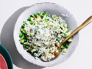 Rice salad with peas, mint, zucchini, lemon and pine nuts