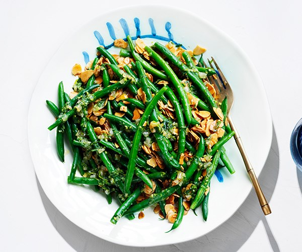 Green beans with tarragon, preserved lemon and fried almonds