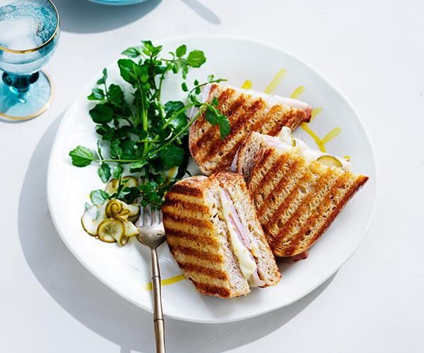 "**[Ham and cheese toasties with quick-pickled cucumber](https://www.gourmettraveller.com.au/recipes/fast-recipes/ham-cheese-toasties-pickled-cucumber-16861|target=""_blank"")**"