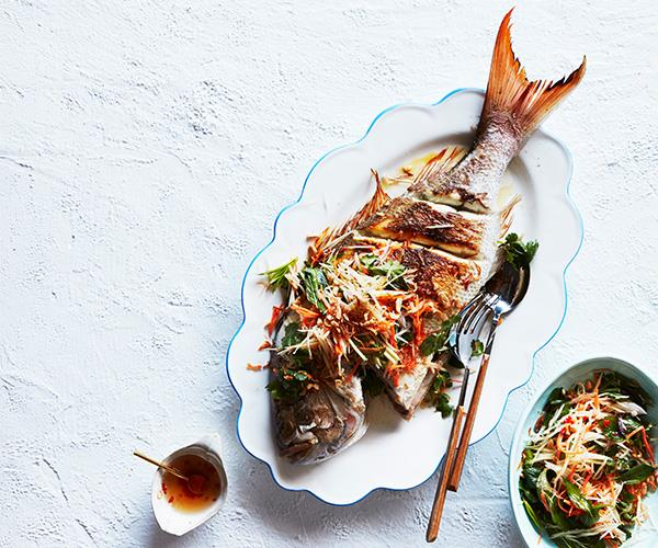 "**[Liberté's whole barbecued snapper with green papaya salad](https://www.gourmettraveller.com.au/recipes/chefs-recipes/barbecued-whole-snapper-recipe-16872|target=""_blank"")**"