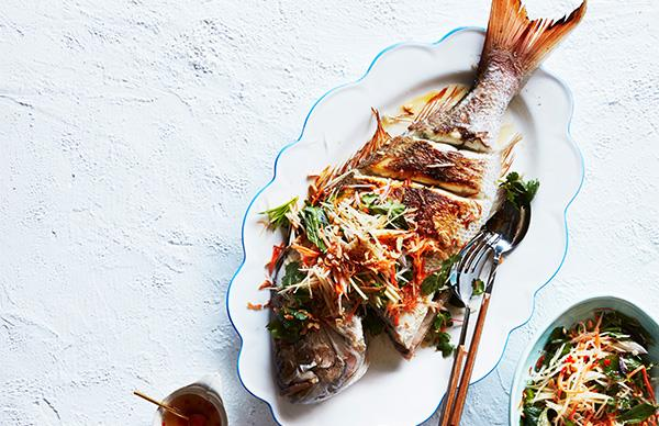 Whole barbecued snapper with green papaya salad