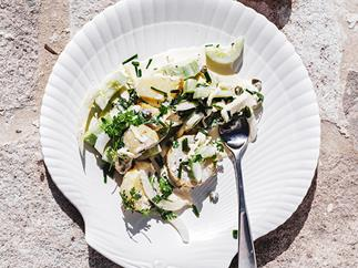 Potato salad with cucumber and burrata