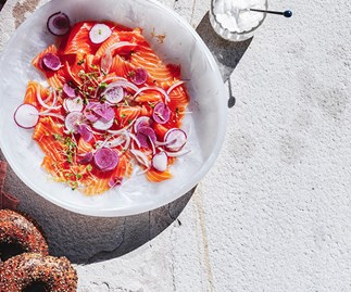 Citrus-cured salmon with horseradish cream and bagels