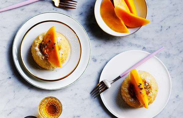 Coconut bundts with mango passionfruit and lime