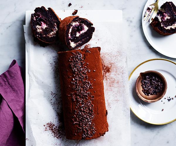 Blackberry and chocolate meringue roulade
