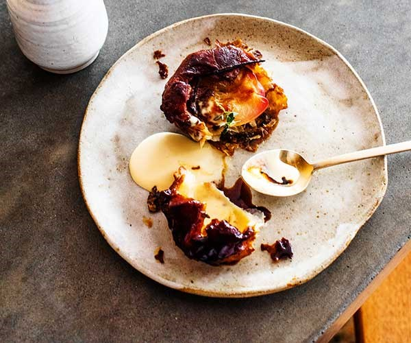 Nectarine tarte Tatin with vanilla and thyme