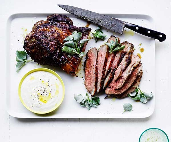 Barbecued butterflied lamb leg with saltbush rub