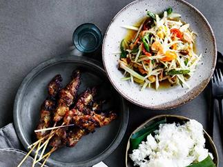 David Thompson's green papaya salad with grilled pork skewers