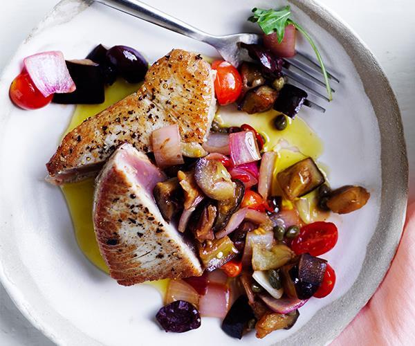"**[Tuna with caponata](https://www.gourmettraveller.com.au/recipes/fast-recipes/tuna-caponata-16914|target=""_blank"")**"