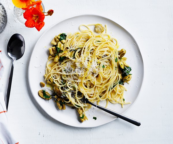 "[Ten-minute spaghetti with olives, capers and lemon](https://www.gourmettraveller.com.au/recipes/fast-recipes/spaghetti-olives-capers-lemon-16915|target=""_blank"")"