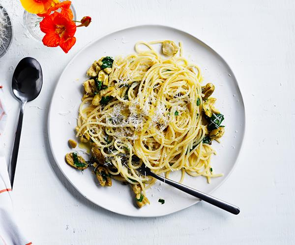 "**[Ten-minute spaghetti with olives, capers and lemon](https://www.gourmettraveller.com.au/recipes/fast-recipes/spaghetti-olives-capers-lemon-16915|target=""_blank"")**"