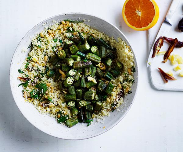 Couscous with roasted okra, dates and preserved lemon