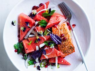 Ocean trout with watermelon, jalapeno and lime