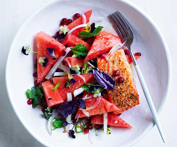 "**[Ocean trout with watermelon, jalapeño and lime](https://www.gourmettraveller.com.au/recipes/fast-recipes/ocean-trout-watermelon-jalapeno-lime-16919|target=""_blank"")**"