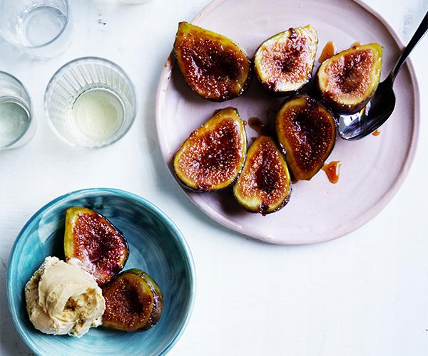 "[**Glazed figs with salted caramel ice-cream**](https://www.gourmettraveller.com.au/recipes/fast-recipes/glazed-figs-ice-cream-16920|target=""_blank"")"
