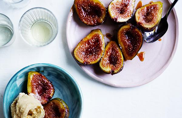 Glazed figs with salted caramel ice-cream