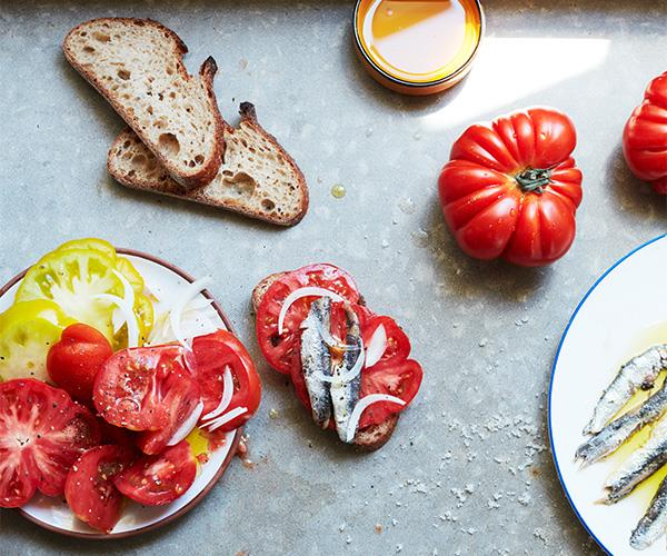 "**[Anchovies and tomatoes on sourdough](https://www.gourmettraveller.com.au/recipes/browse-all/anchovies-tomatoes-toast-16921|target=""_blank"")**"