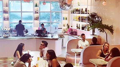 Say hello to Peaches, the Melbourne rooftop cocktail bar that's decked in pastel colours