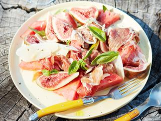 Fig, watermelon and jamon salad