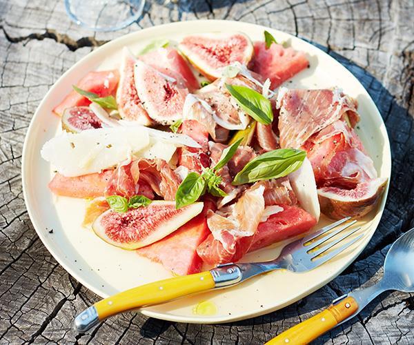 Fig, watermelon and jamon salad