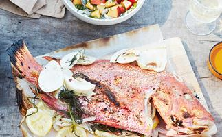 Whole barbecued fish with chilli and peach salsa